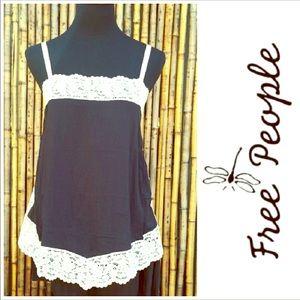 Free People Intimates Black/Cream Lace Camisole